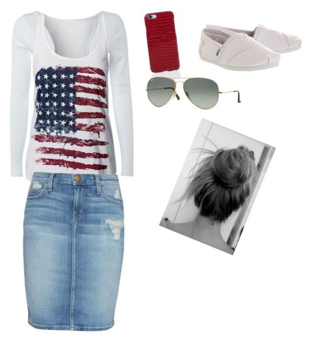 """""""God bless America/ Rachael's style #6"""" by sew42mom on Polyvore featuring White Stuff, TOMS, Current/Elliott, Paul Smith and Ray-Ban"""