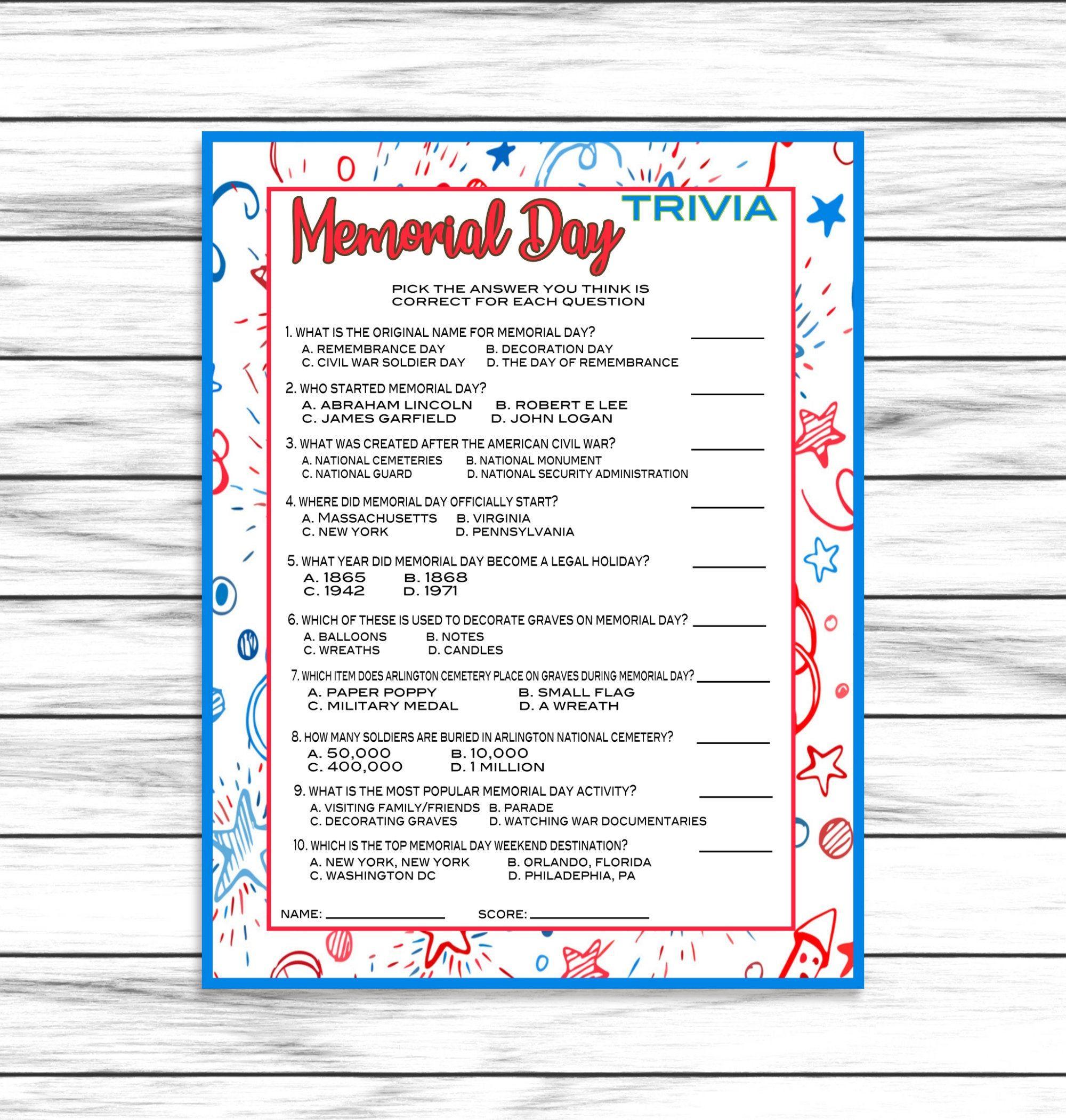 Memorial Day Trivia Game Party Game Memorial Day Party Game Memorial Day Printable Game Memorial Day Decor Ins Memorial Day Trivia Memorial Day Activities [ 2100 x 2000 Pixel ]