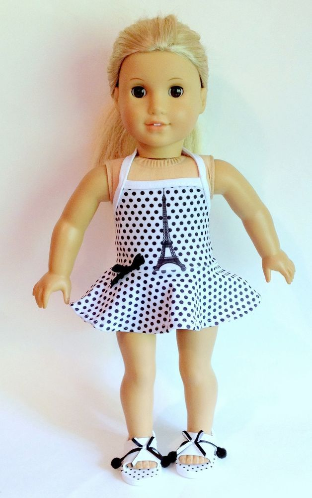American Girl Doll Clothing Paris Swimsuit + Shoes Set 18\