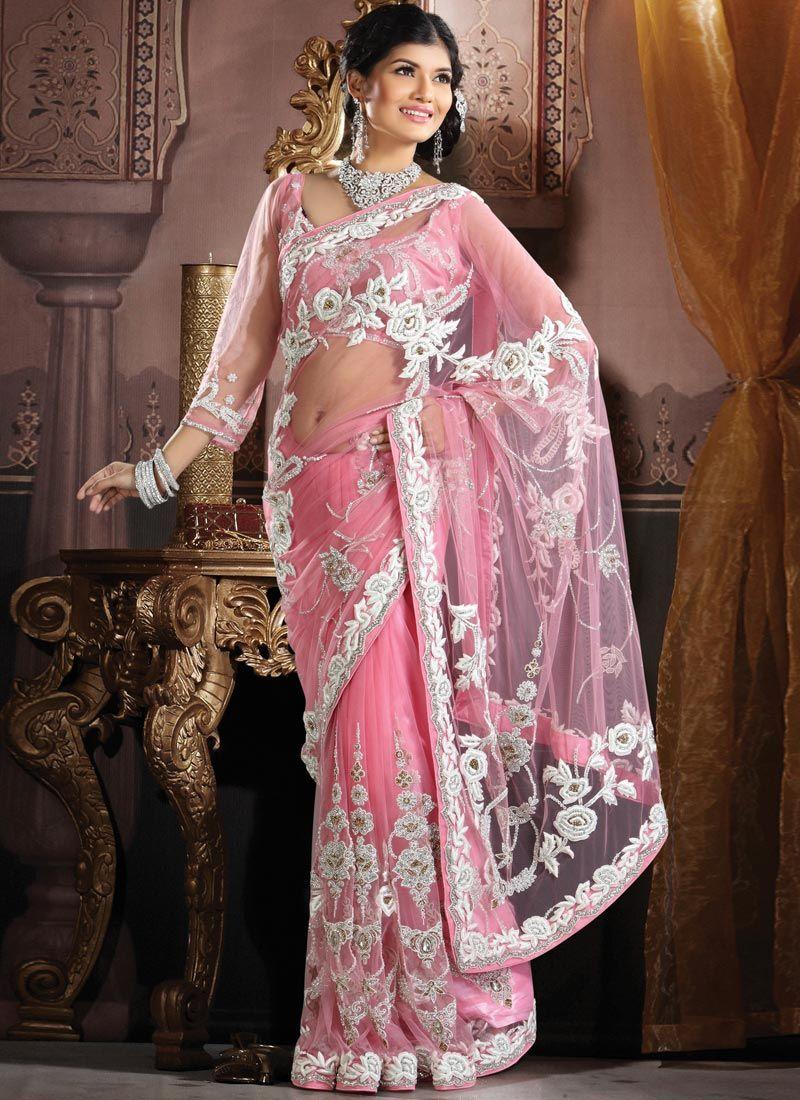 Embroidered #Pink Net saree   Desi   Pinterest   Moda india, India y ...