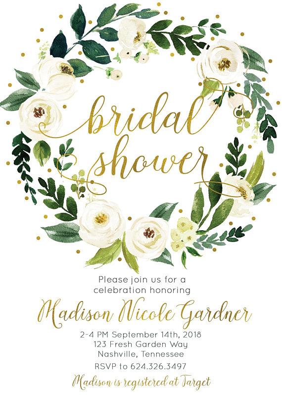 ef5b90378de Bridal Shower Invitation White Cream Green Watercolor Floral Wreath Digital  Printable