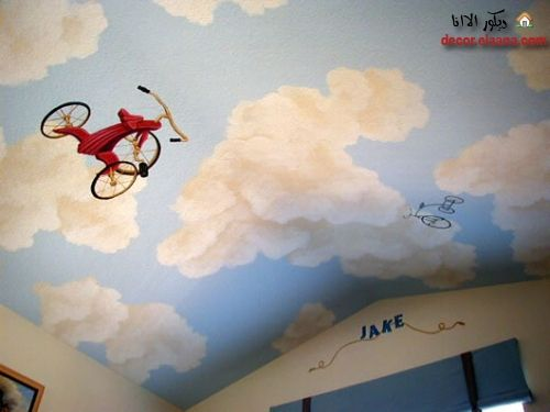 Sky gypsum ceiling murals for kids room decorative for Ceiling sky mural