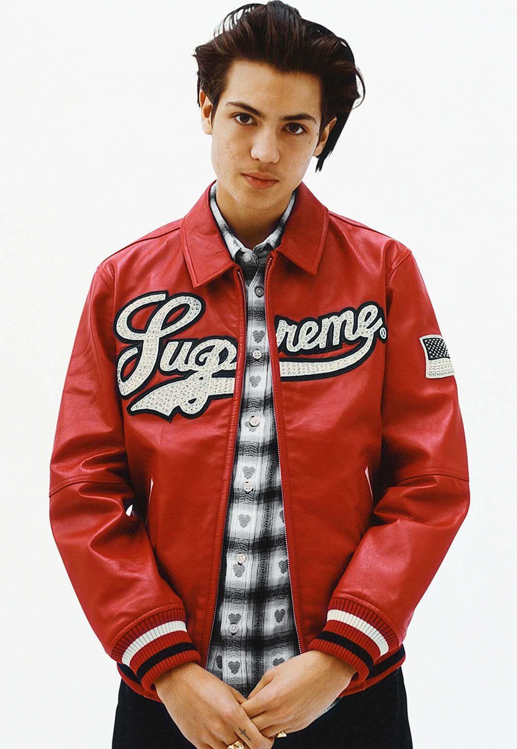 Leather jacket in summer - Supreme Spring Summer 2016 Uptown Studded Leather Varsity Jacket