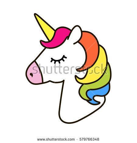 Unicorn Vector Icon Isolated On White Head Portrait Horse Sticker