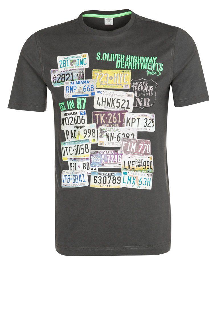 S Oliver T Shirt Print Grijs Shirts Mens Tops T Shirt