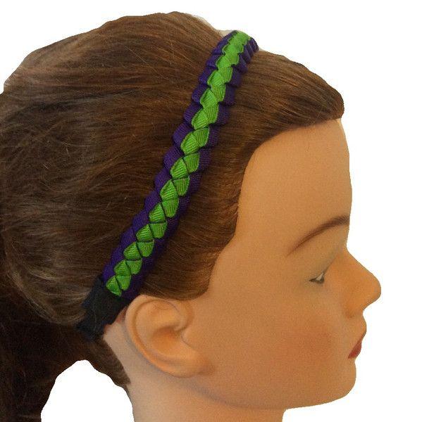 Deep Purple & Apple Green Sillies II Skinny Headband, Truly non-slip headband, Adjustable, No headache headband
