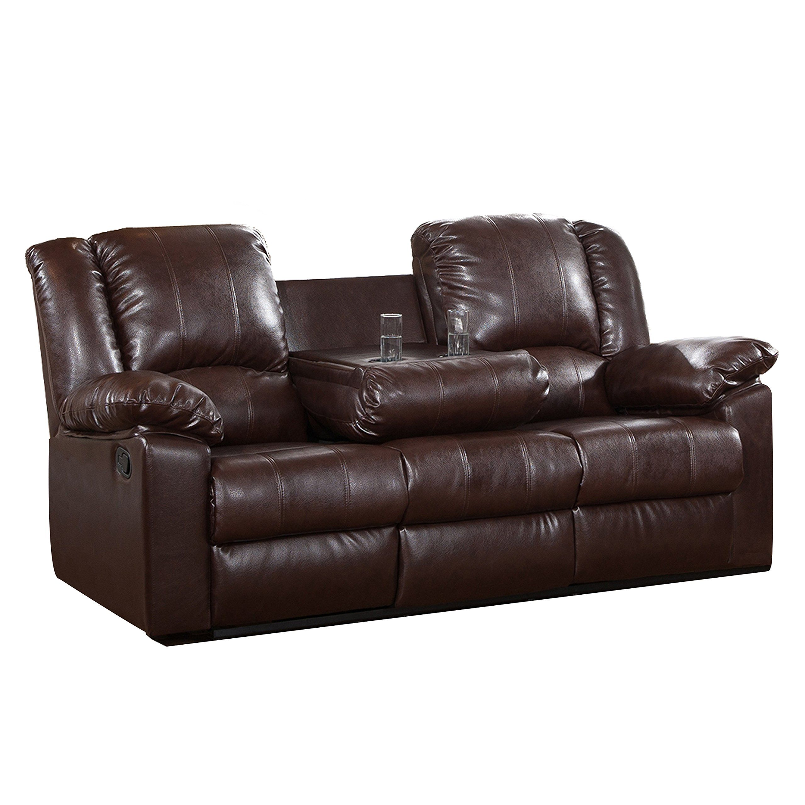Merveilleux Milton Greens Stars Burgas Reclining Sofa With Dropdown Cup Holder, 81 Inch  By 38 Inch By 40 Inch, Dark Brown. Luxurious, Plush Faux Leatherette  Upholstery.
