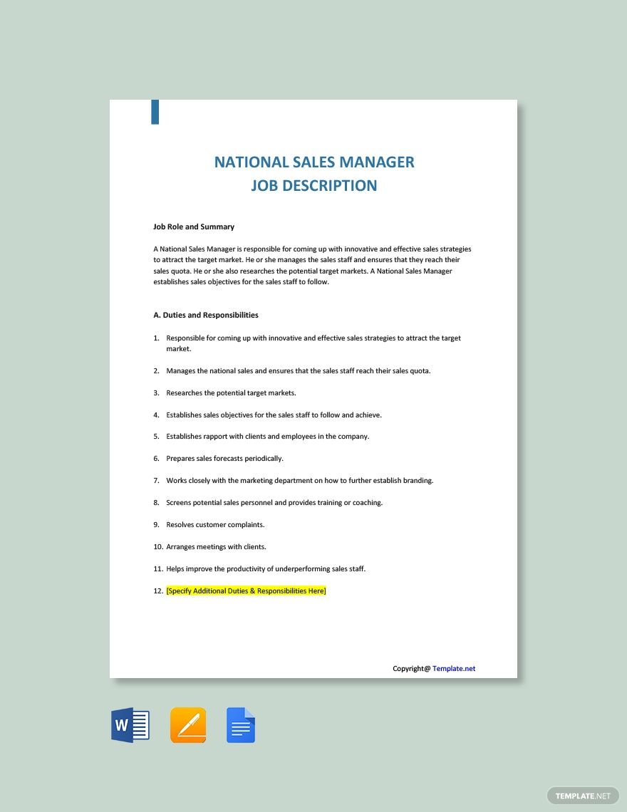 Free National Sales Manager Job Description Template in