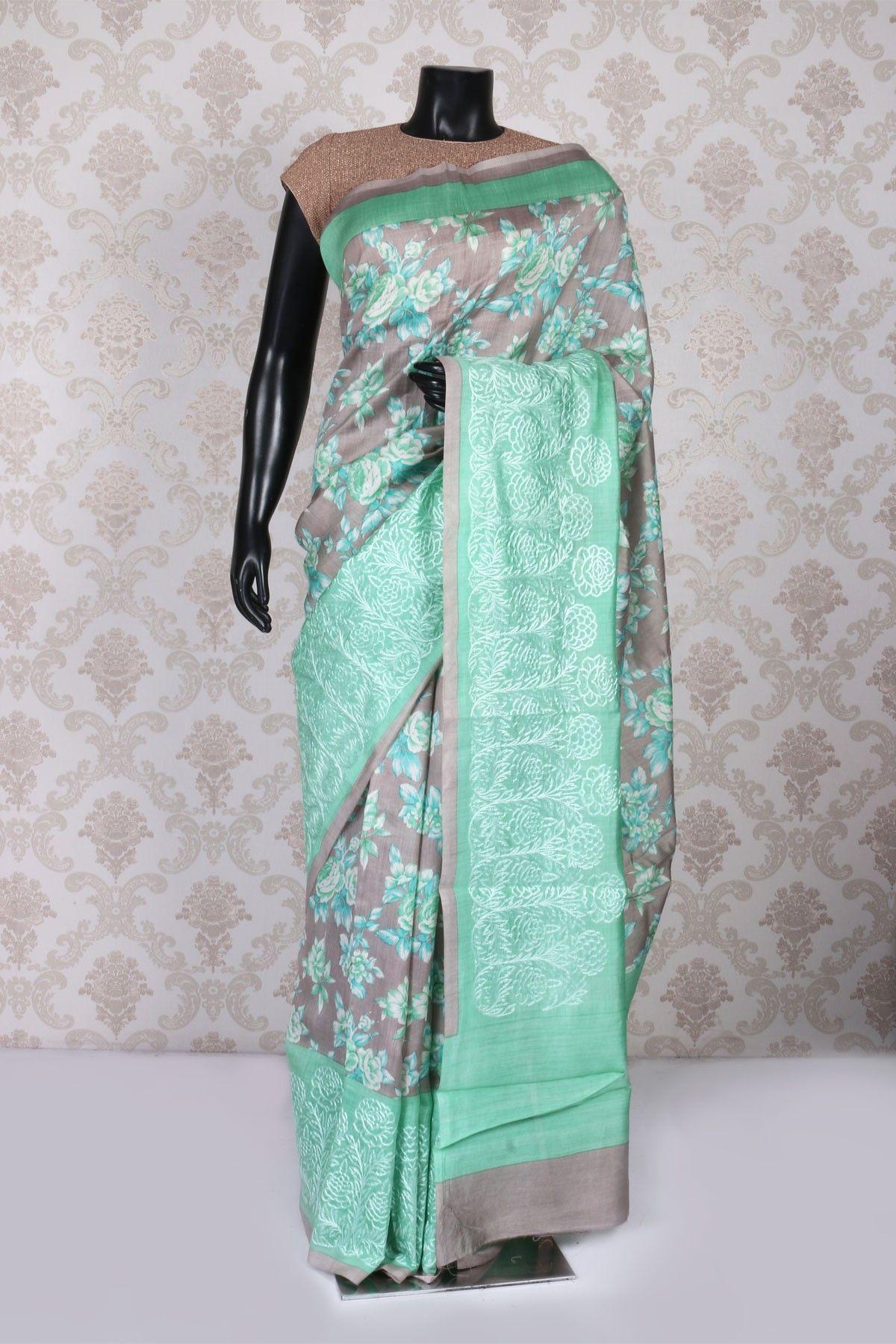 Off white tussar silk saree grey multicoloured tussar silk admirable saree with weaved pallu