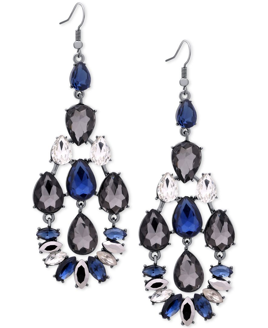 Guess Hematite-Tone Blue Crystal Drop Earrings