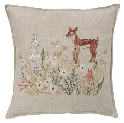 Coral & Tusk - Meadow Friends 16x16 Pillow, Natural Linen