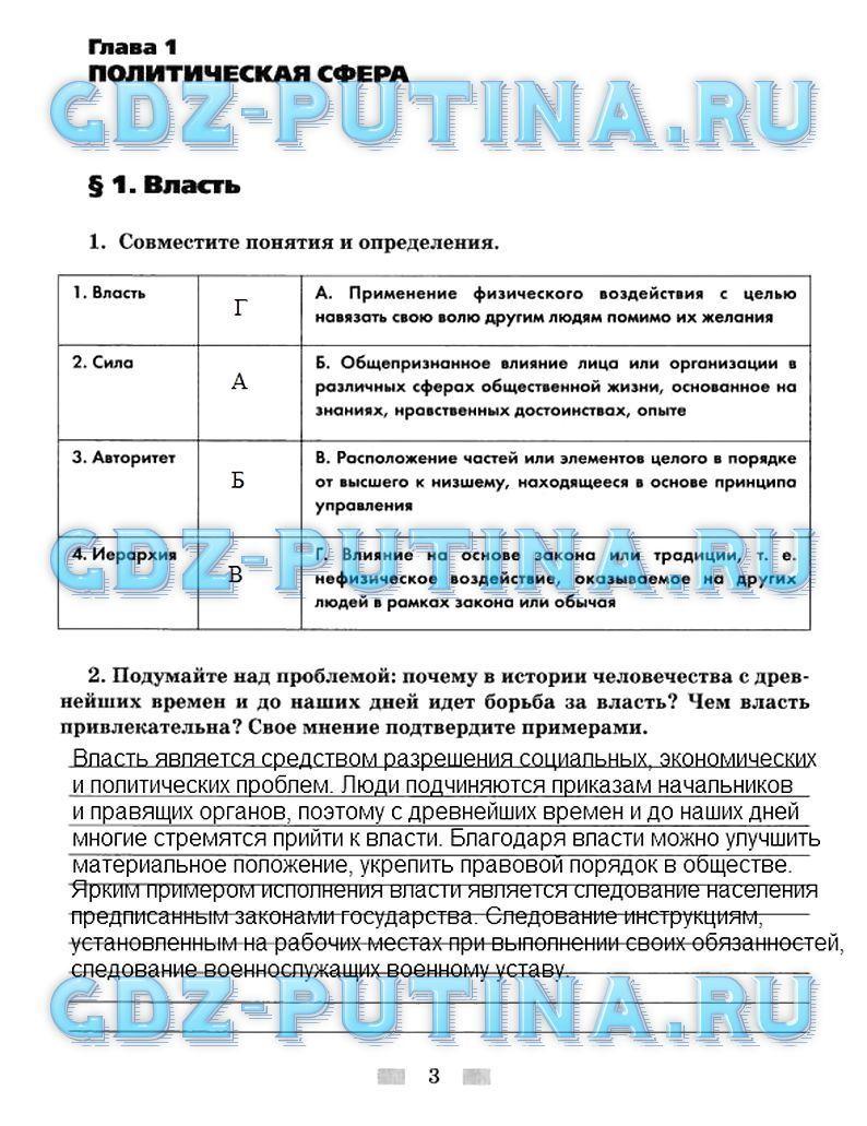 Гдз готовые домашние задание обществознание 9 класс