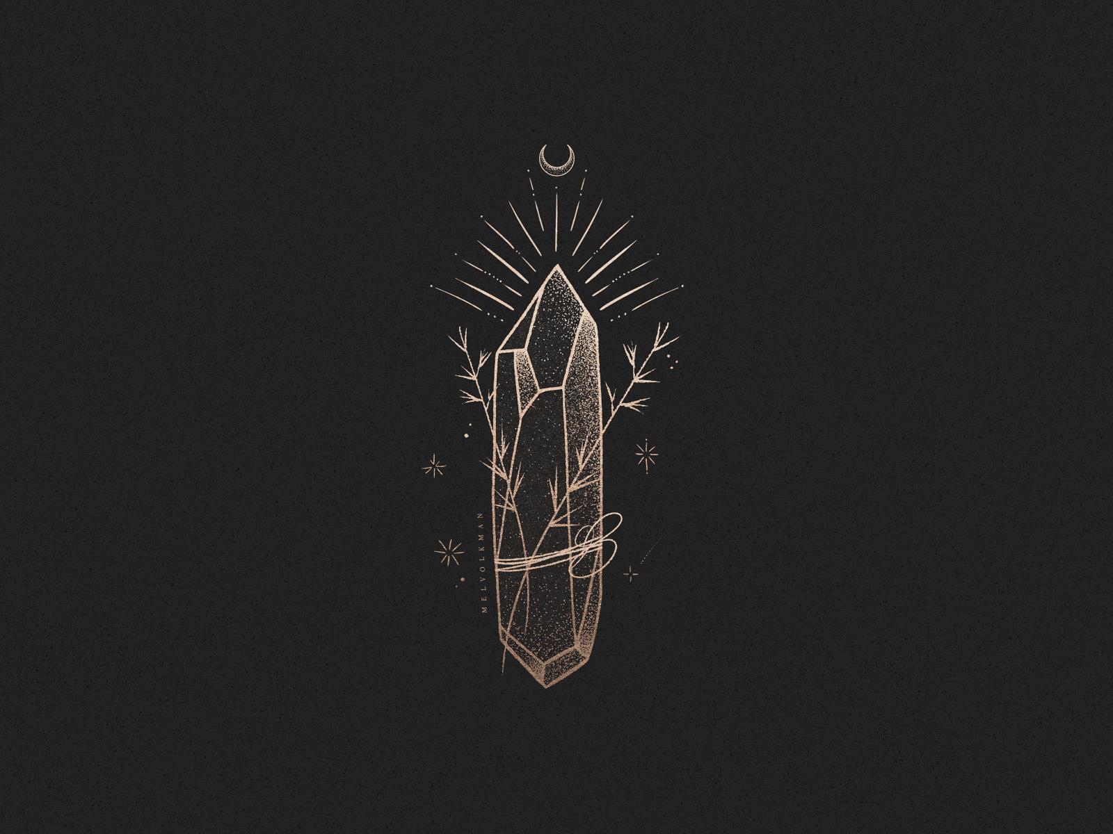 Magical Crystal Illustration By Mel Volkman Crystal Illustration Witchy Wallpaper Mystic Wallpaper