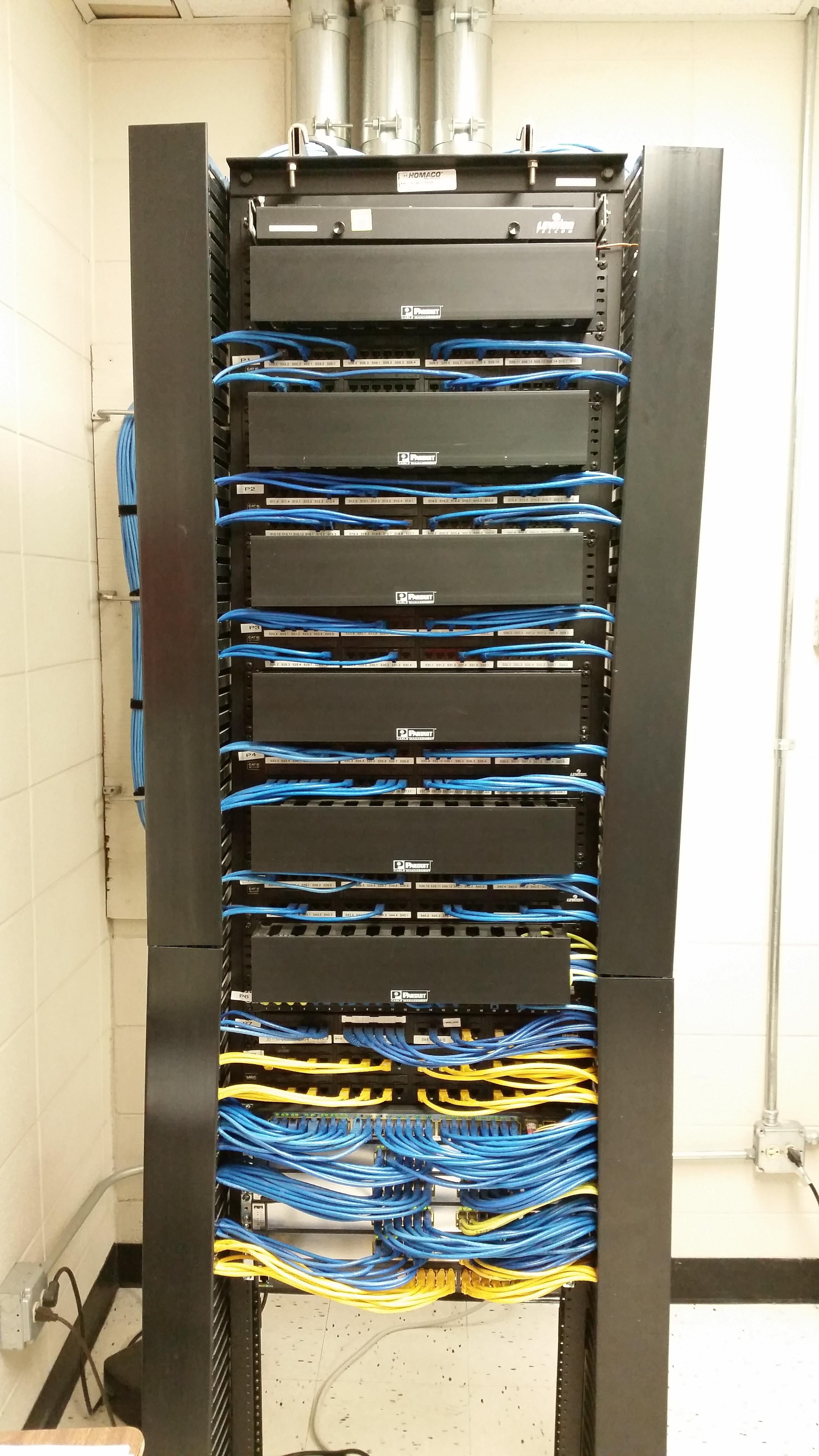Several Cables Running Into Panduit Patch Panels Cisco Poe Switches Ethernet Cable Pins And Wires Labelled For Power Over Blue Are Data Yellow
