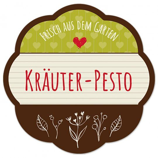 Gratis Vorlage Etikett Blumenform Krauter Pesto Aus Dem Garten Marmeladenetiketten Marmeladen Etikett Etiketten Drucken