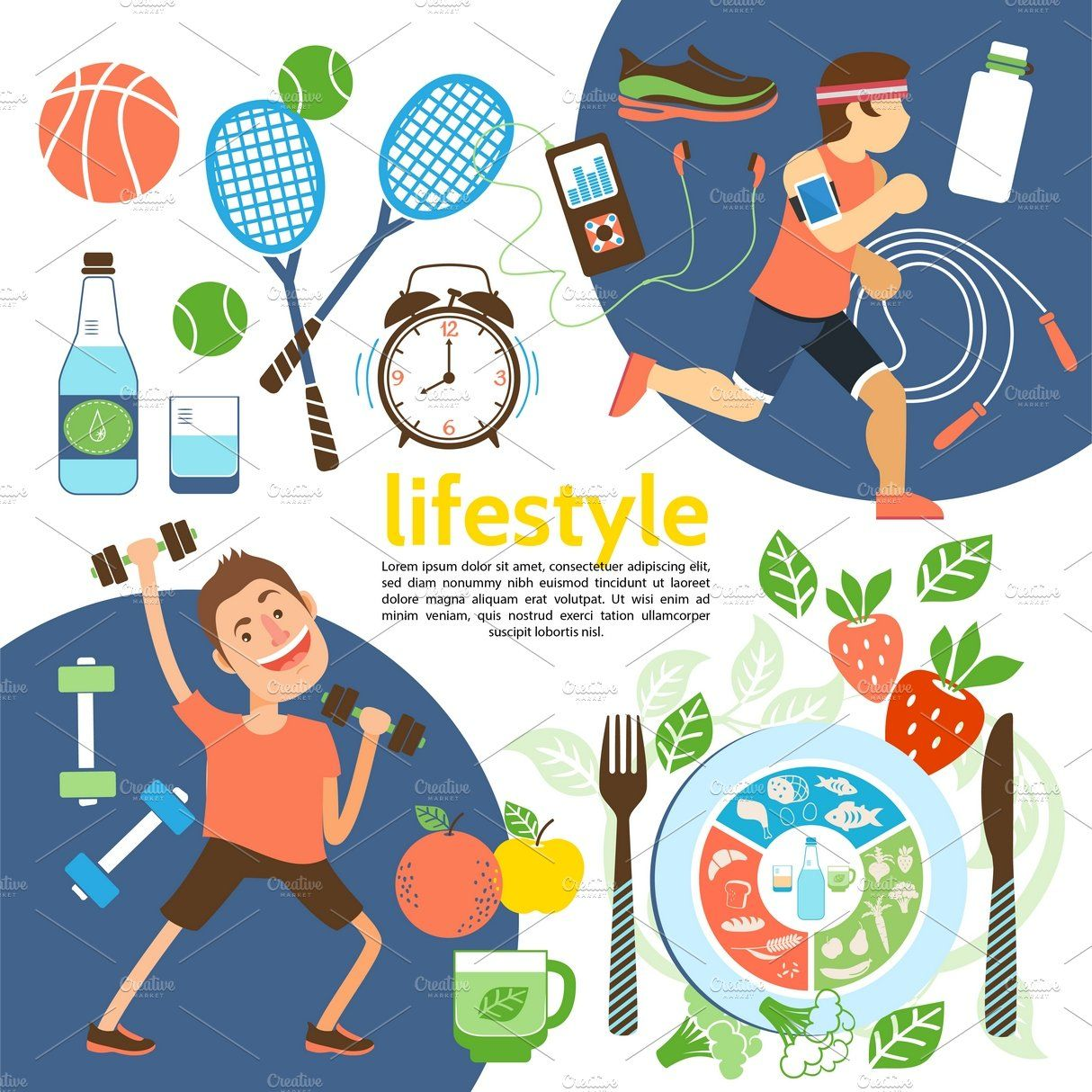 Flat healthy lifestyle poster Nutrition poster, Healthy