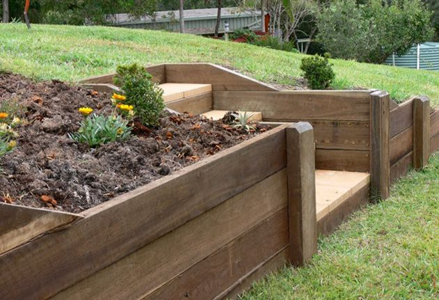wooden retaining wall steps