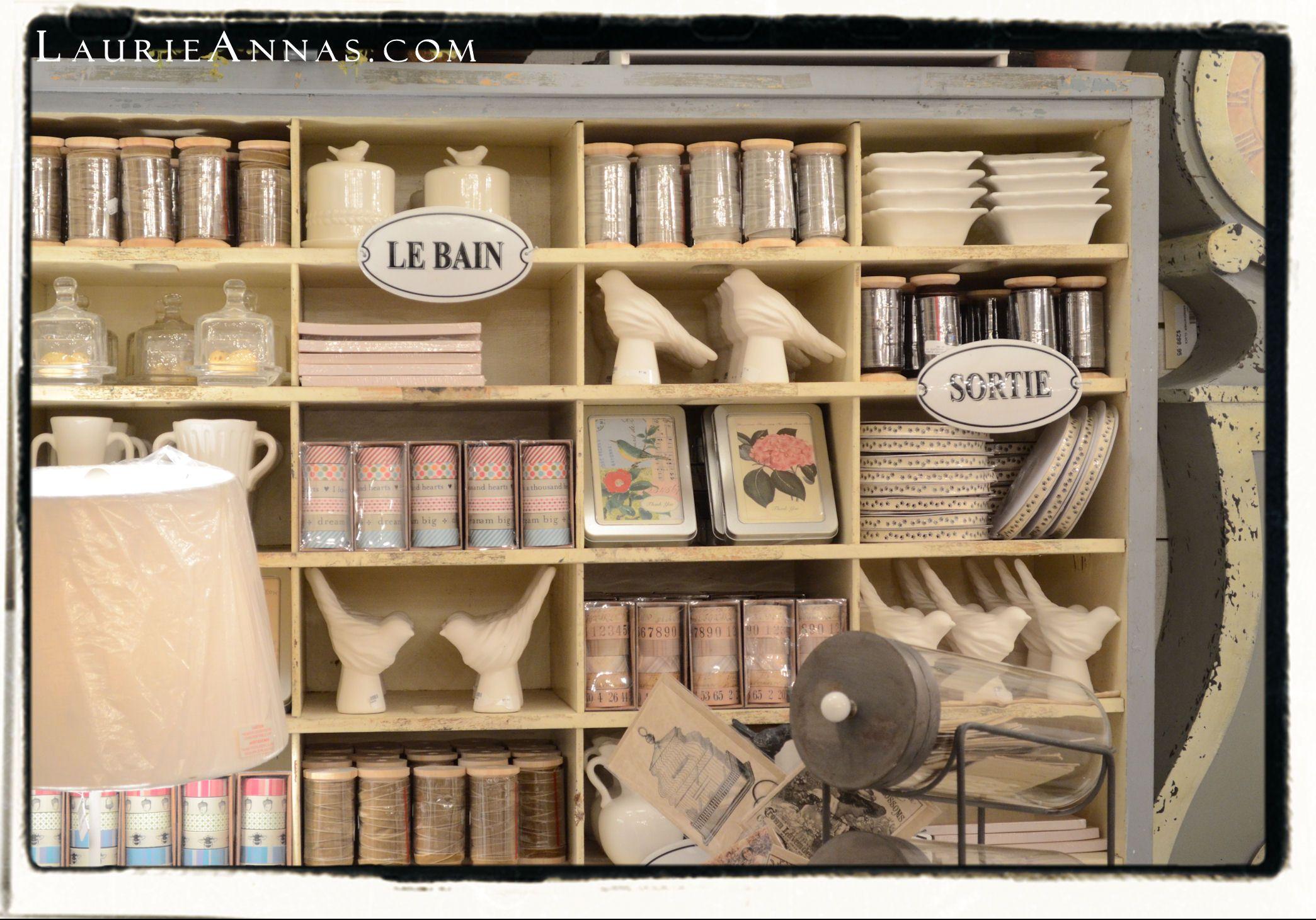 Fun cubbies at LaurieAnna's Vintage Home!   http://laurieannas.com