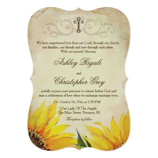 Christian Wedding Invitation Sunflowers wedding – Wedding Invitation Christian