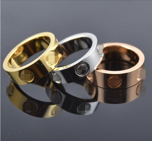 Top Classic Design Famous Brand 6mm gold plated lovers wedding band love ring for Women Men Valentine's Day present
