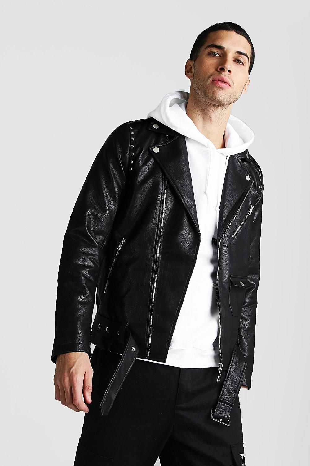 Faux Leather Biker Jacket With Studs boohooMAN UK Faux