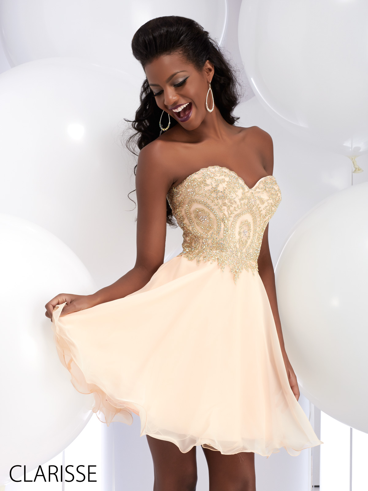 Short Strapless Prom Dress with Gold Sparkly Lace Applique by ...