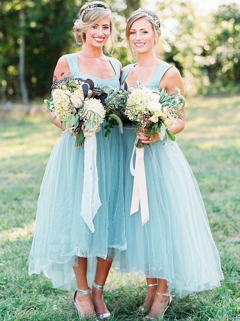 Simple aiine square neck tulle bridesmaid dresssleeveless light