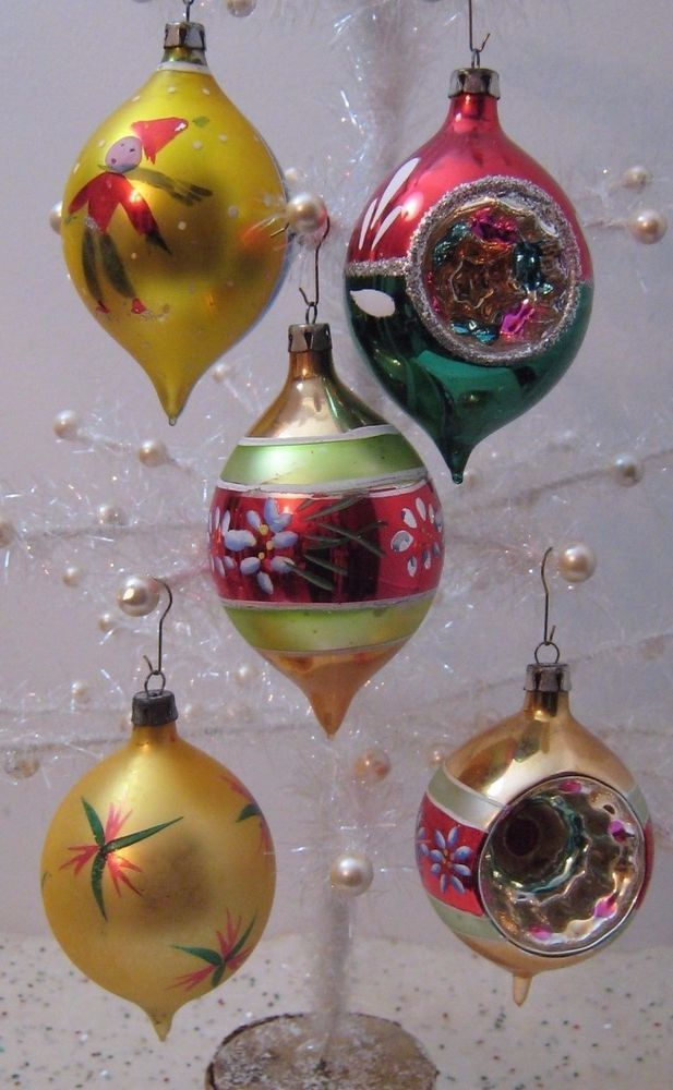 Lot of 5 Vtg Poland Glass Xmas Ornaments Indent Teardrop Red Green - polish christmas decorations