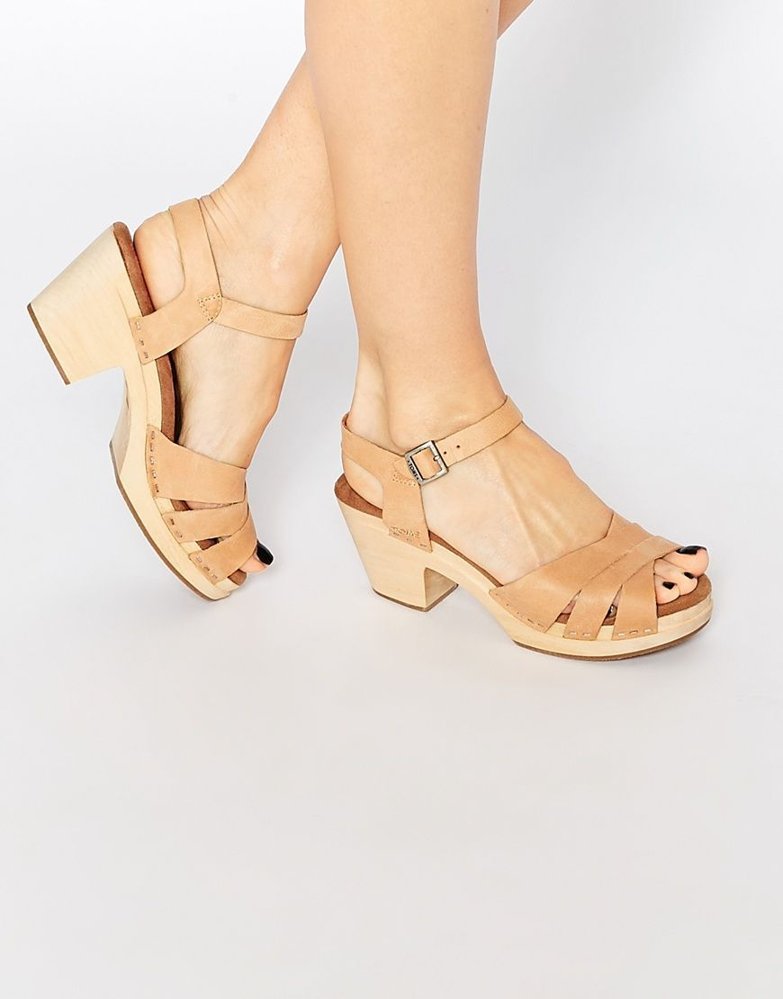 5db2ed911a83 Image 1 of TOMS Beatrix Wooden Heeled Clog Sandals