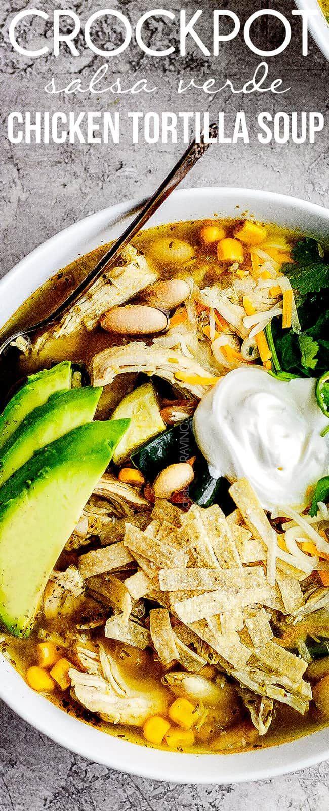 Crockpot Chicken Tortilla Soup (Verde!)