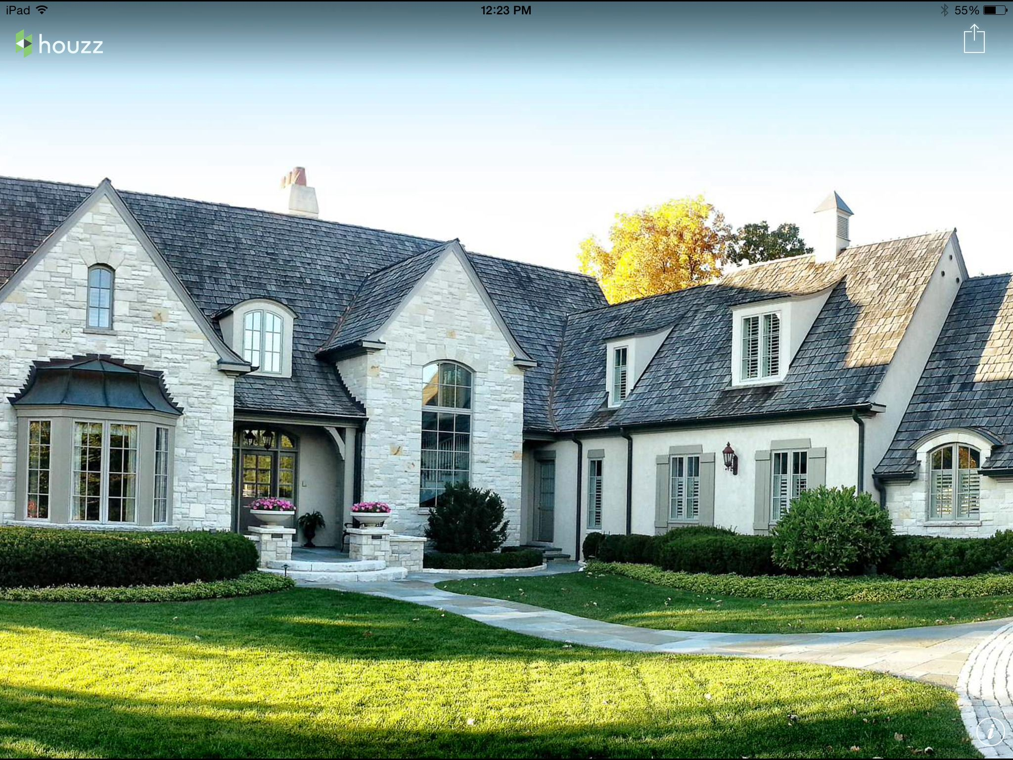 Love the exterior finishes of this house French country