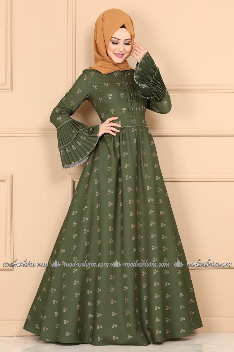 Kollari Piliseli Elbise 9067w153 Haki Moda Selvim Elbise Sirin Elbiseler Islami Giyim