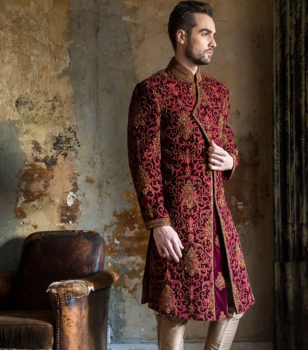 HEAVY MAROON SHERWANI … | Indian Men's Fashion | Weddi…