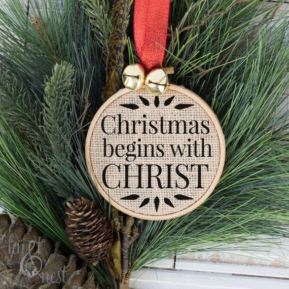 Christmas begins with Christ, Christmas Ornament, Christ in Christmas,  Christian Gifts, Religious, M - Christmas Begins With Christ, Christmas Ornament, Christ In