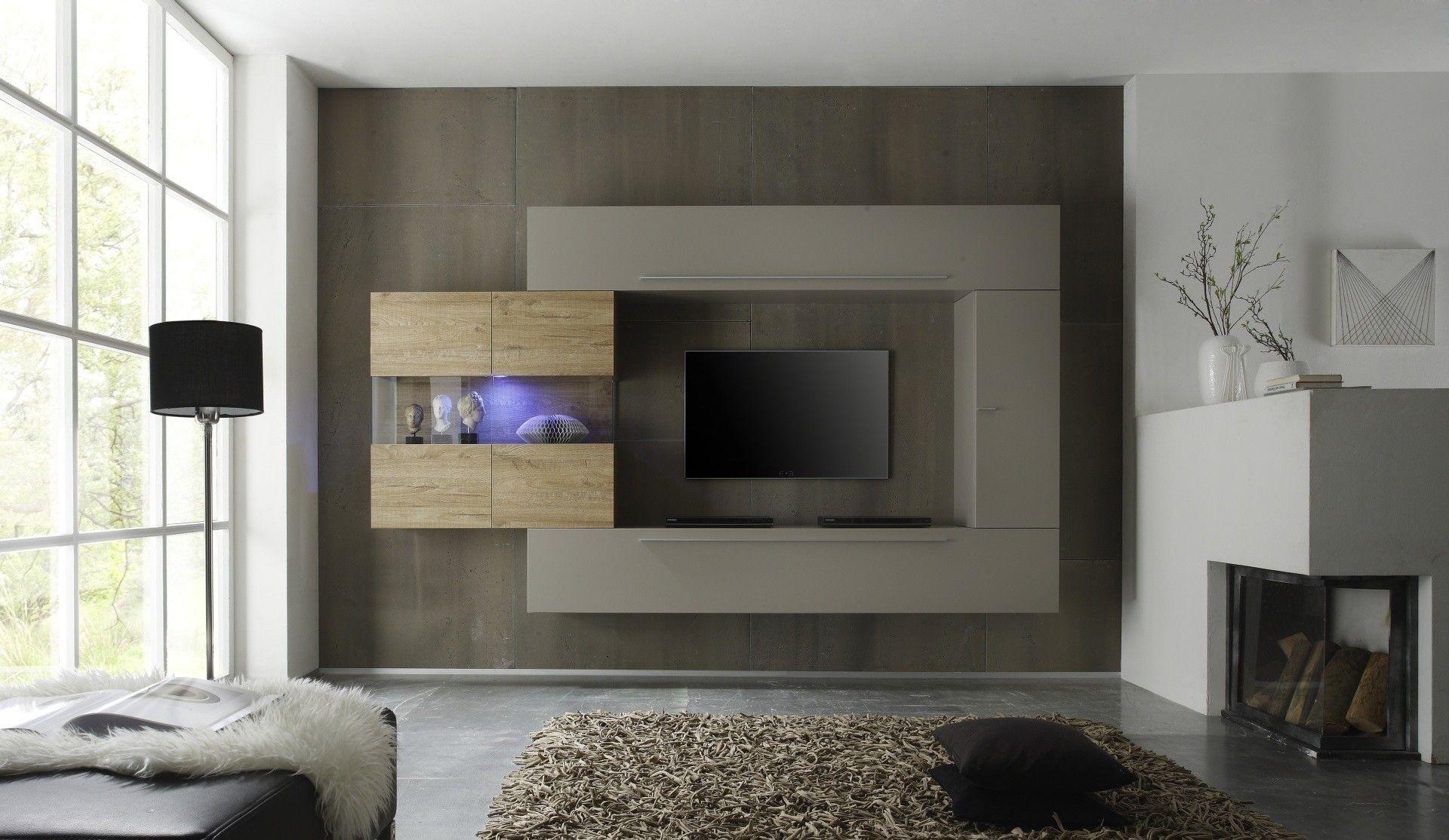 Parete soggiorno design moderno finitura tortora opaco