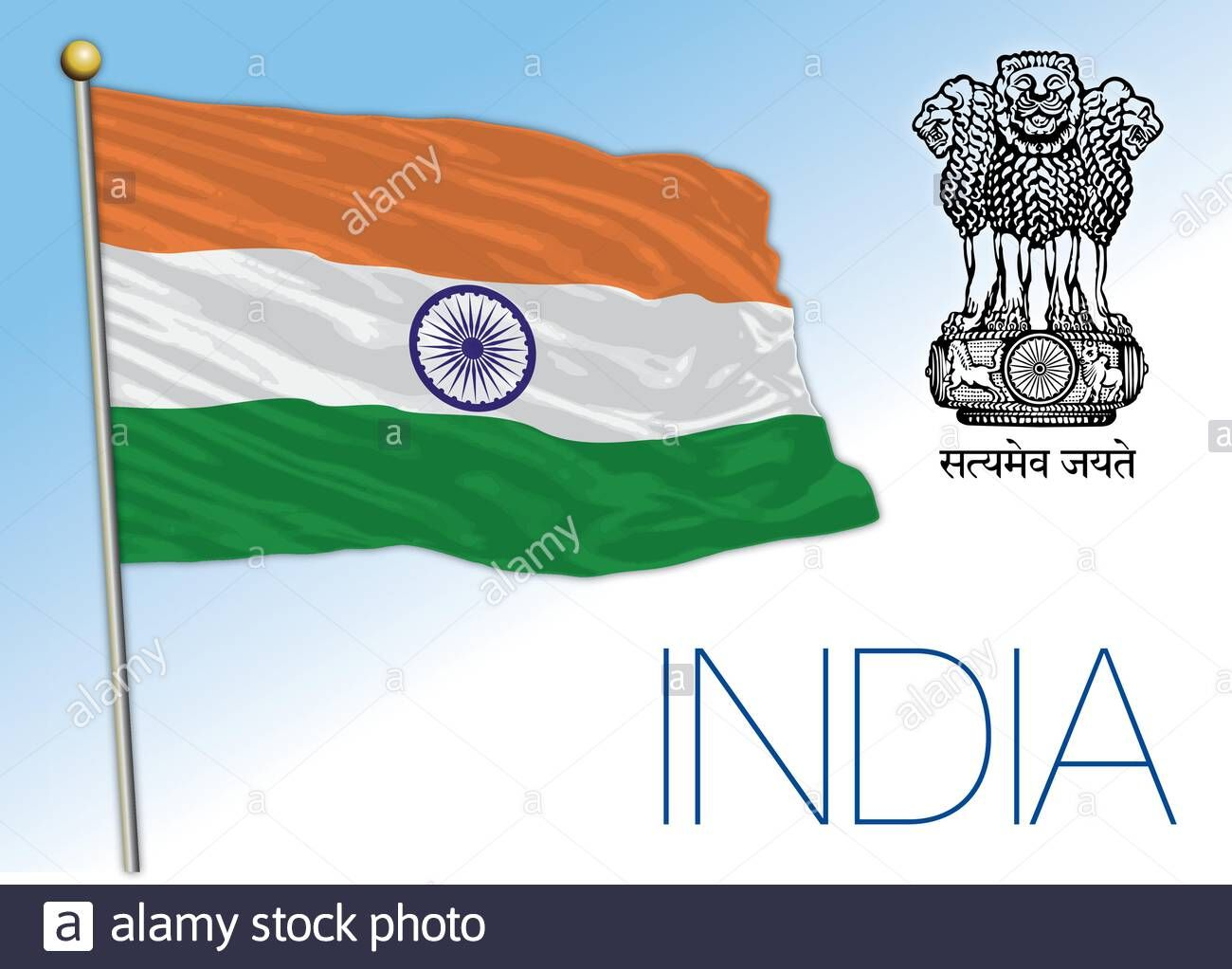 Download This Stock Vector India Official National Flag And Coat Of Arms Asiatic Country Vector Illustration 2b4ej27 From Alamy S Library Of Millio En 2020 Banderas