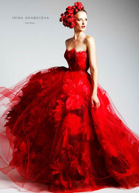 Irina Shabayeva Couture Feather Bouquet Ball Gown with side pockets ...