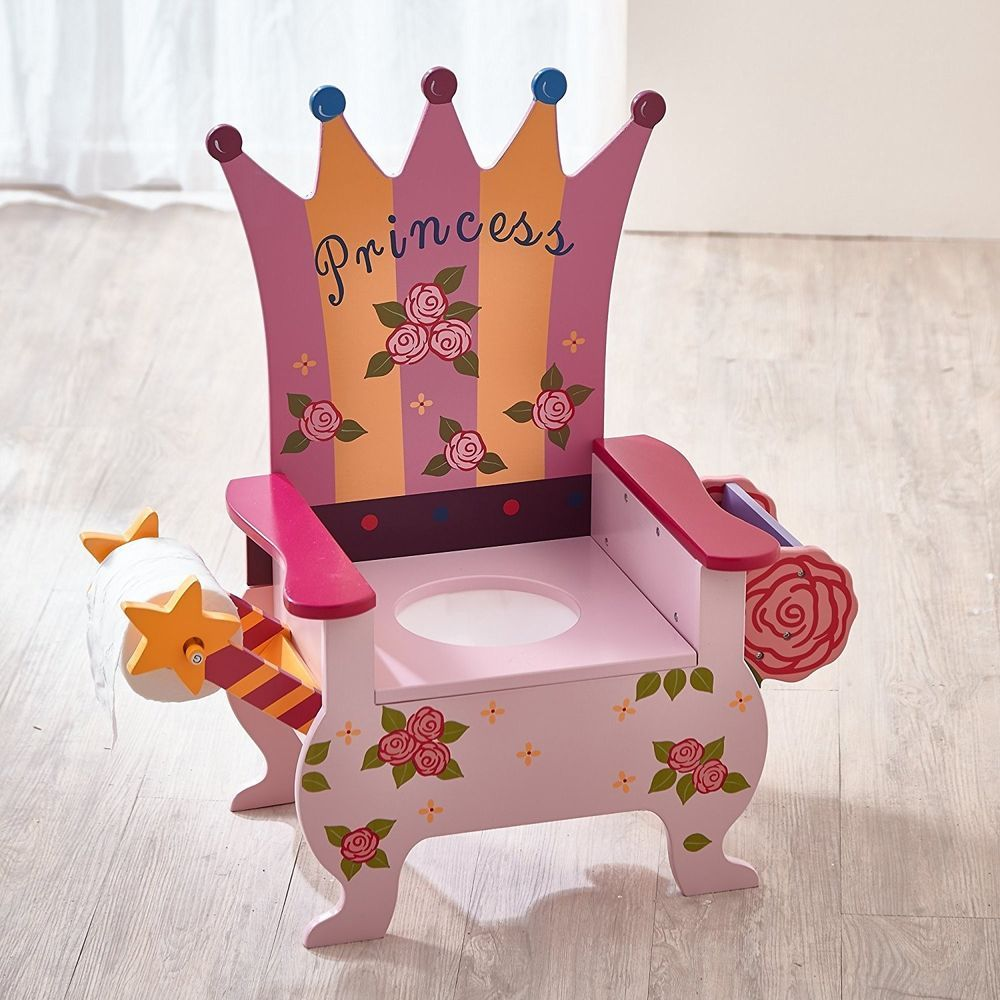 Kids Girls Toddler Pink Princess Crown Potty Chair For Potty Training New Teamson Potty Chair Rocking Toy Kids Chairs