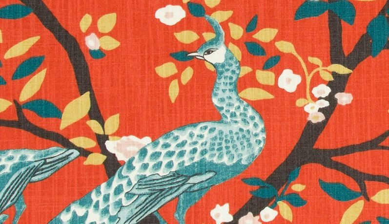 Teal Red Fabric for Furniture Upholstery - Bird Curtain Fabric ...