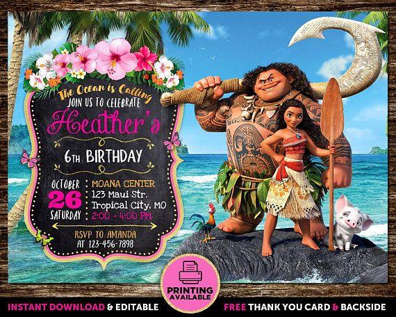 Moana Invitation Editable Birthday And Thank You Instant