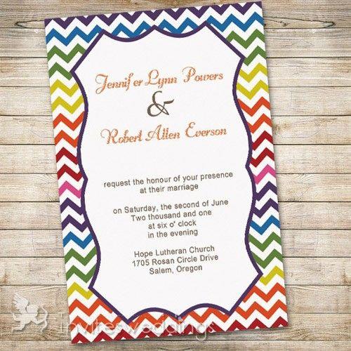 Rainbow Colors Chevron Wedding Invitations IWI300 Wedding