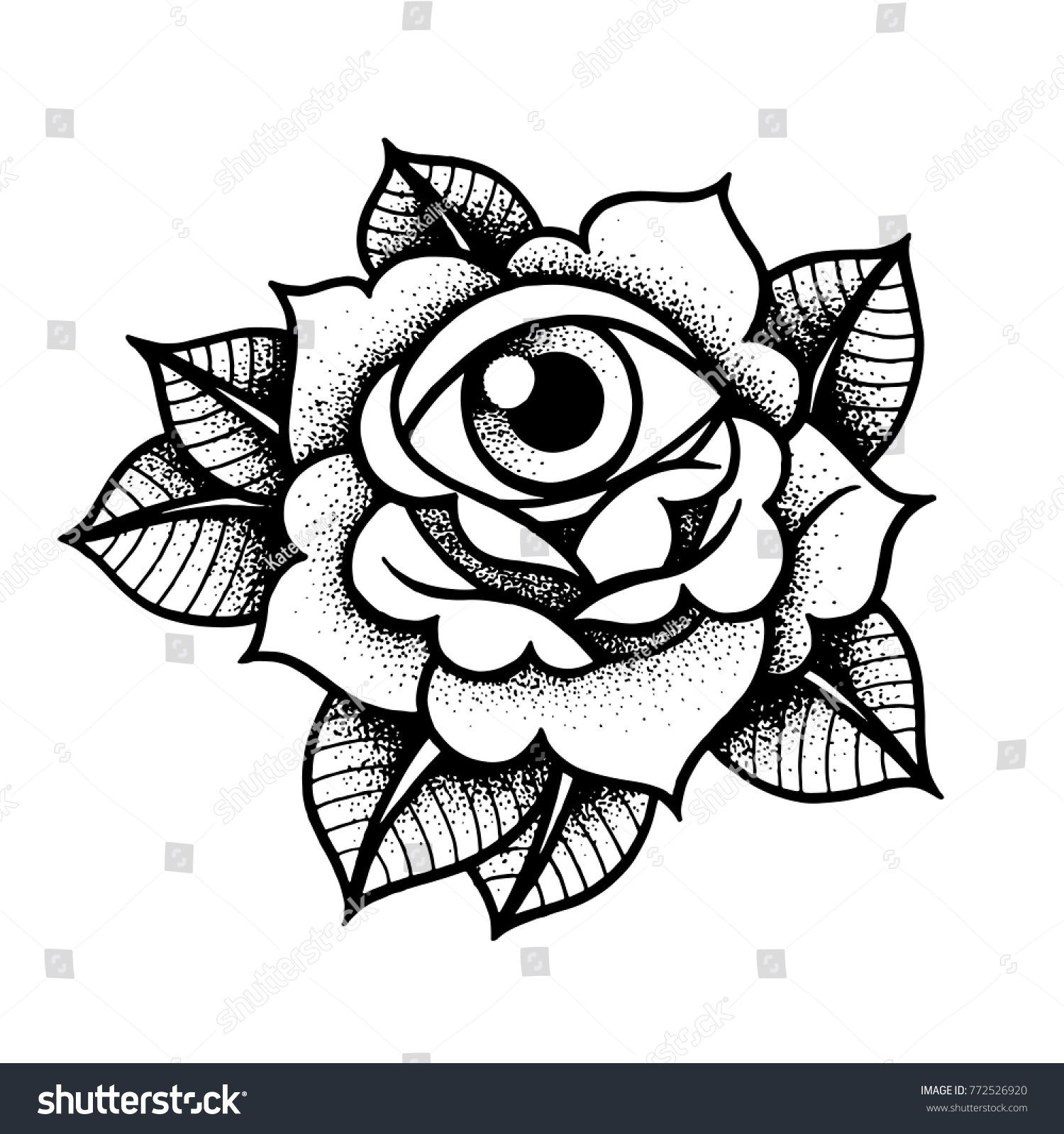 Old school rose tattoo with eye. Traditional black dot