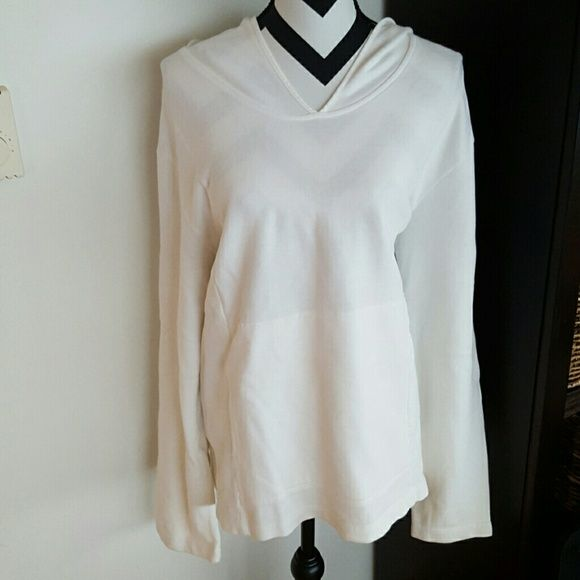 White Hooded Sweater Very soft and comfortable white lounge sweater. Big front pocket and hood. Long sleeves. Size 3- fits like and XL. 100% cotton. Great condition. Sweaters