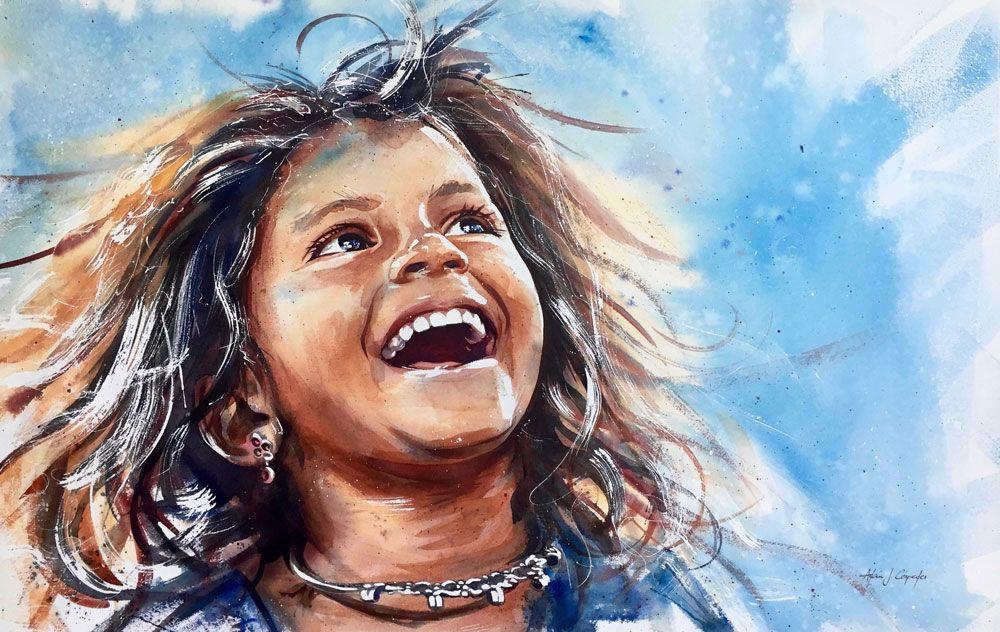 Adan J Cespedes #Watercolor Sonrisa www.adanjcespedes.com