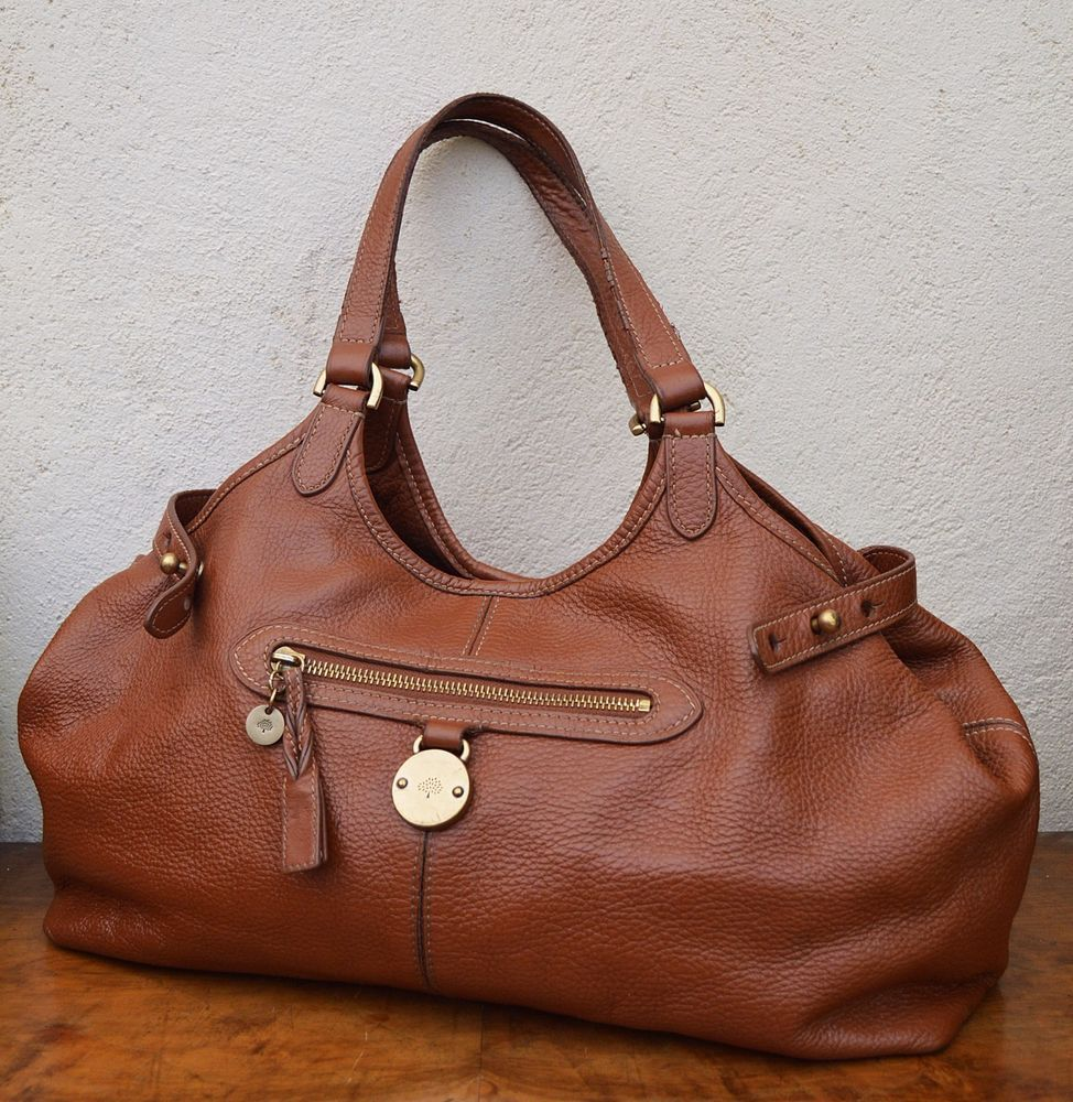 c924671fbc Authentic MULBERRY bag SOMERSET tote bag large BROWN tan oak  FREE P P