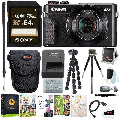 Canon Powershot G7x Mark Ii Digital Camera With Corel Software And 64gb Bundle Best Digital Camera Digital Camera Camera
