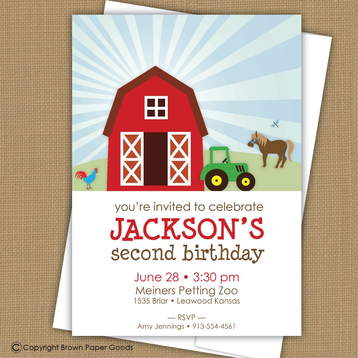 Farm Birthday Invitation Barnyard By Brownpaperstudios 1500 2nd Party Themes Themed