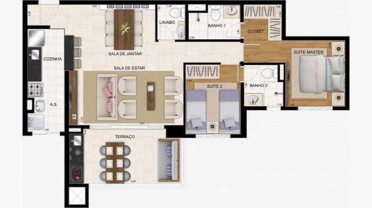 Apto 86 m² opção com o living ampliado ficando c/ 2 dorms (1 suíte) + lavabo.