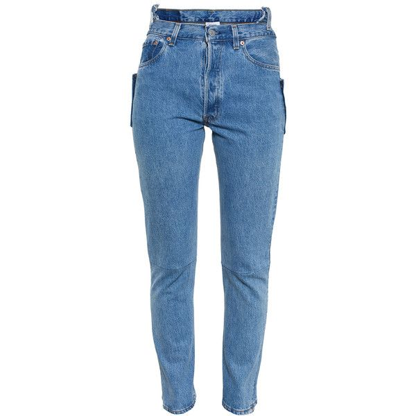 Vetements High Waisted Jeans ($640) ❤ liked on Polyvore featuring jeans, pants, bottoms, trousers, denim, highwaist jeans, blue jeans, high rise denim jeans, high-waisted jeans and high waisted jeans