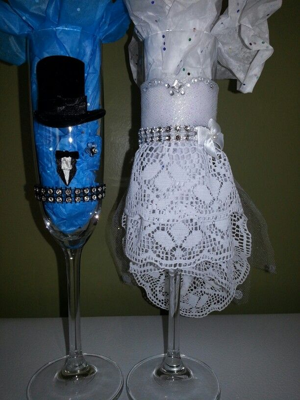 Champagne bride and groom